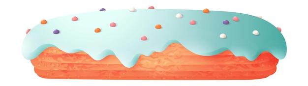 Eclair-gebäck mit sahne und zuckerguss isoliert auf weißem hintergrund