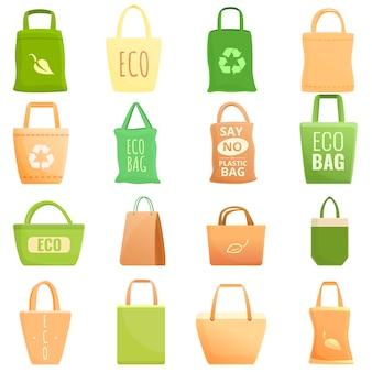 Eco bag icons set, cartoon-stil