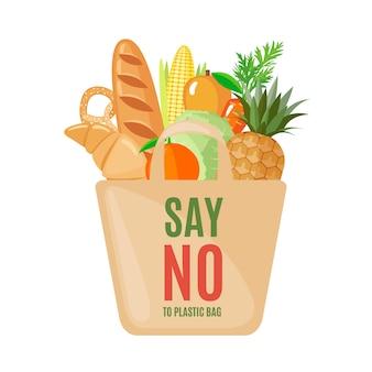 Eco bag symbol mit produkten im flachen stil.