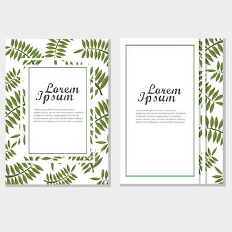 Eco-broschüre-design-vektor-vorlage. firmenplakat mit grünen blättern.
