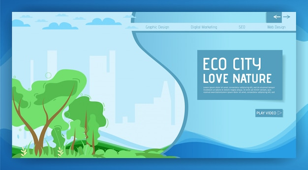 Eco city landing page motivation, die natur zu lieben