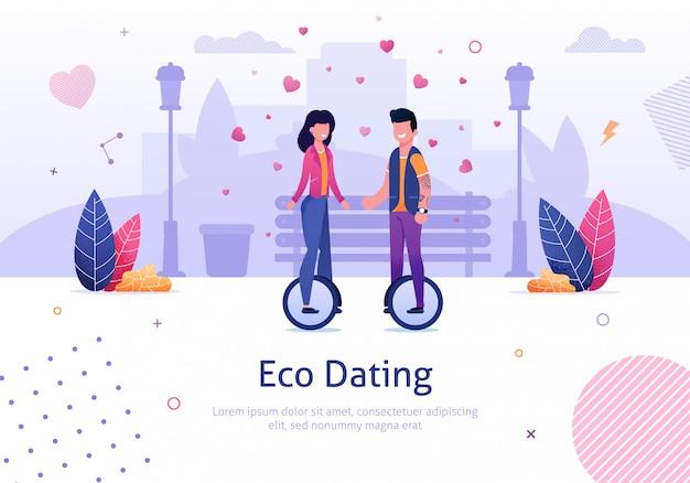 Eco dating und man woman ride monocycle im park