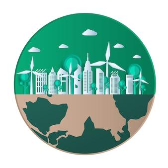 Eco freundliche, grüne stadt und erneuerbare energiekonzept.