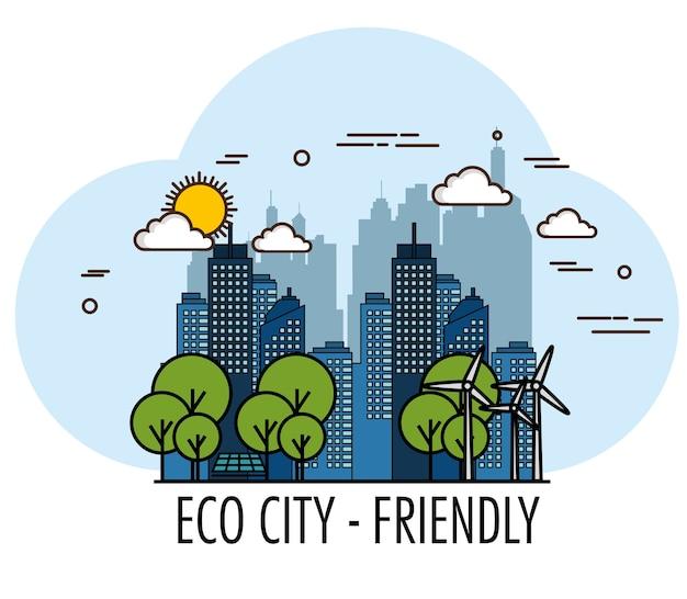 Eco freundliche stadt mit windkraftanlagen und bäumen vector illustration
