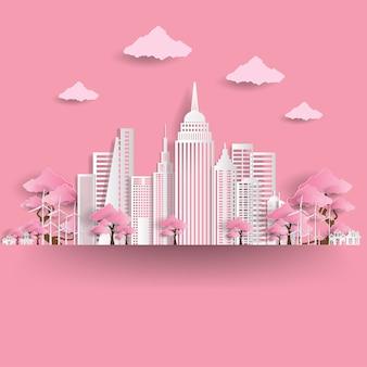 Eco freundliche stadtillustration