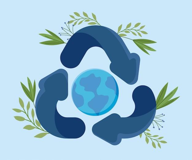 Eco freundliche szene mit planetenerde bei der pfeilwiederverwertung