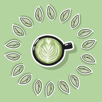 Eco freundliches badekurortplakat mit grünem kaffee. geh grün und lebst