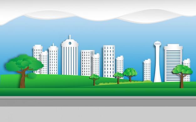 Eco green city im papierschnittstil