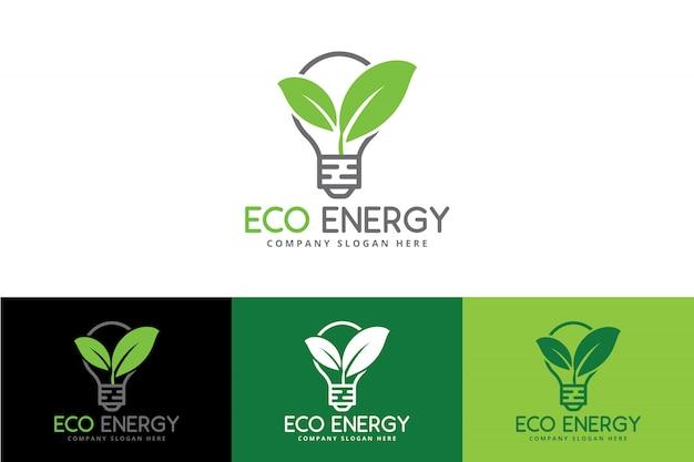 Eco green energy logo mit birne und blatt