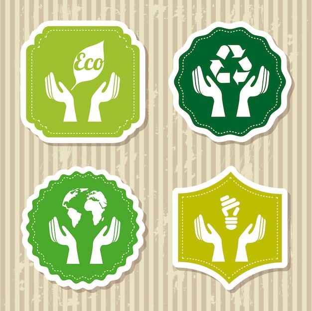 Eco kennsätze über brauner hintergrundvektorillustration