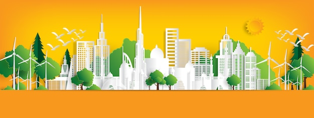 Eco landschaft mit gebäuden im papierschnitt.