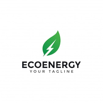 Eco leaf und power, erneuerbare energie lightning bolt logo design template