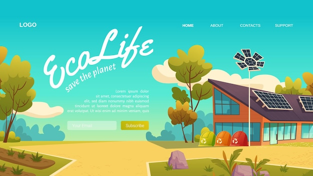 Eco life cartoon landing page
