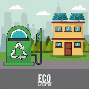 Eco-lifestyle-zapfsäule und haus solarpanel umwelt
