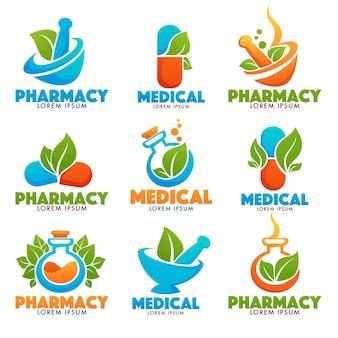 Eco pharma, glossy shine logo vorlage mit bildern von flaschen, stampfer, pillen und grünen blättern