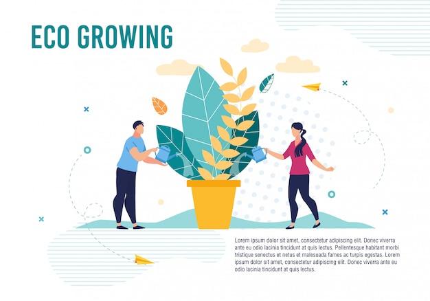 Eco poster mit menschen, die sich um pflanzen im topf kümmern