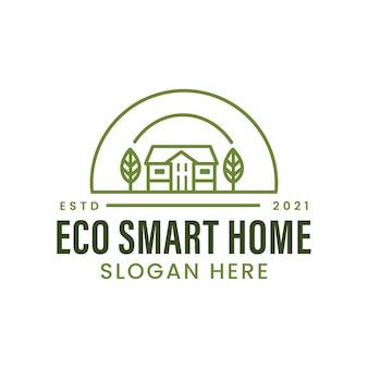 Eco smart home mit panorama-landwirtschaftslogo-vorlage