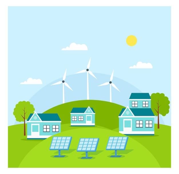 Eco solar panel energy on roof flat konzept
