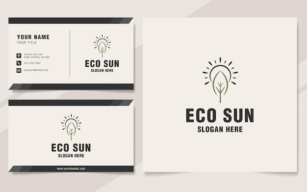 Eco-sonne-logo-vorlage im monogramm-stil