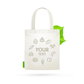 Eco stoff stoff tasche tasche mit platz für ihren text.