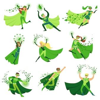 Eco superhelden charaktere im action set, junge männer und frauen in grünen umhängen illustrationen