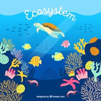 Eco-system-konzept mit schildkröte