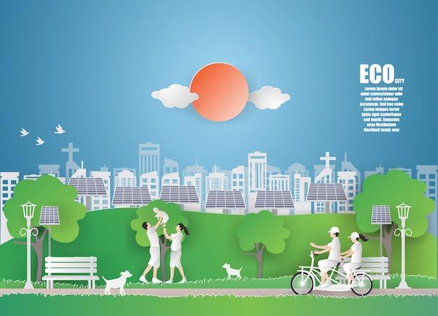Eco tag der erde und weltumwelttag mit grüner stadt.