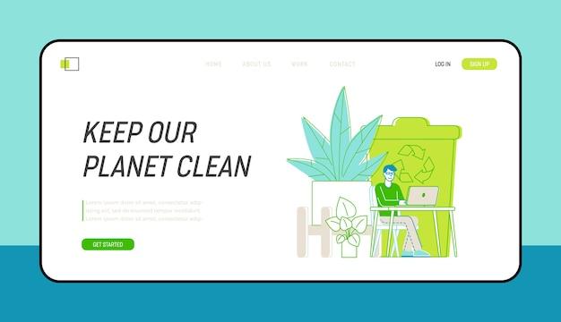 Eco technologies for work landing page-vorlage. geschäftsmann-charakter, der im modernen büro mit umweltfreundlicher umgebung, vielen grünen pflanzen und recycling-abfallbehälter arbeitet. linear