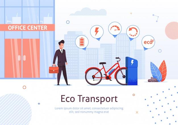 Eco transport und geschäftsmann am büromitte-gebäude und
