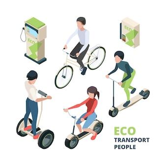 Eco transportieren menschen. 3d-fahrrad elektroauto stadtfahrzeug fahrrad segway isometrische illustrationen.