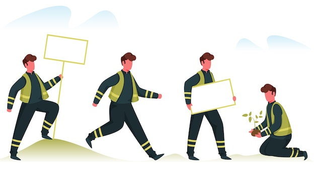 Eco volunteer oder plant rescue team, das verschiedene aufgaben auf weißem hintergrund erledigt.