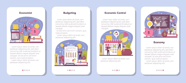 Economist-banner-set für mobile anwendungen