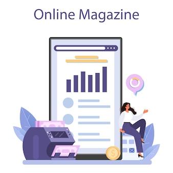 Economist online-dienst oder plattform. wissenschaftler, der wirtschaft und geld studiert. wirtschaftliche kontrolle und budgetierung. online-magazin. flache vektorgrafik