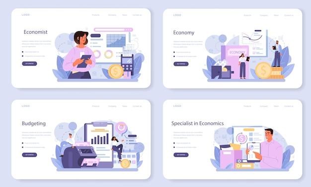 Economist web-banner oder landing-page-set. professioneller wissenschaftler, der wirtschaft und geld studiert. idee der wirtschaftlichen kontrolle und budgetierung. geschäftskapital. vektorillustration im cartoon-stil