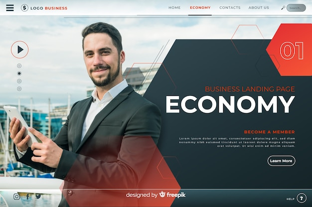 Economy business landing page
