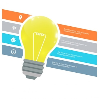 Ector glühbirne infografik vorlage für lampen diagramm