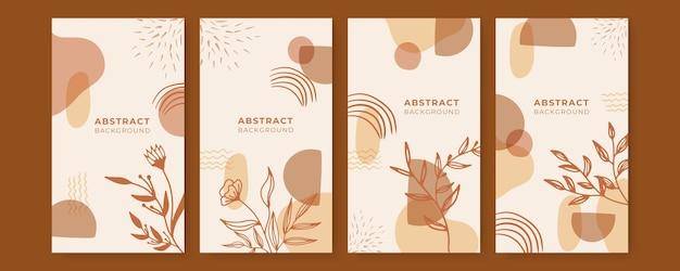 Ector reihe von bunten social-media-geschichten-designvorlagen mit blättern und wellen universelles kreatives organisches boho-design