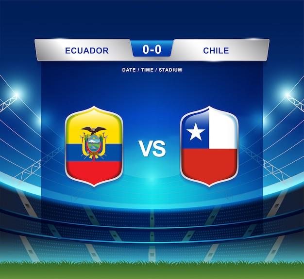 Ecuador gegen chile-anzeigetafelsendungfußball copa america