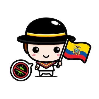 Ecuador junge mit flagge gegen virus