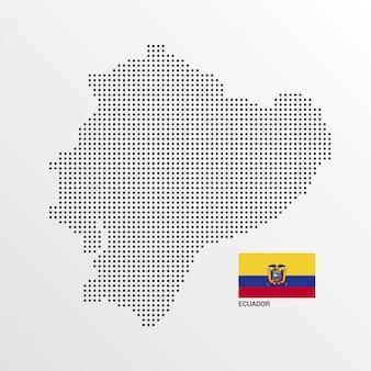 Ecuador-kartenentwurf mit flaggen- und hellem hintergrundvektor