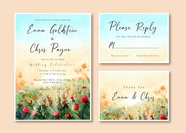 Edding einladungskarte mit schöner rosengartenlandschaft
