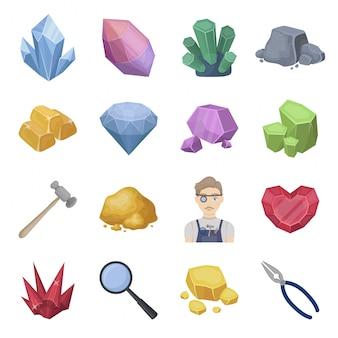 Edelkristall-cartoon-set-symbol. kristall lokalisierte gesetzte ikone der karikatur. abbildung edelkristall.
