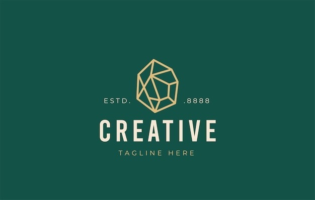 Edelstein-logo-design-symbol-vektor-illustration des geometrischen edelsteins