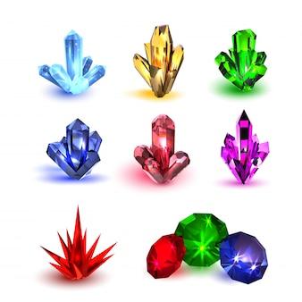 Edelsteine gesetzt. mehrfarbige edelsteine in verschiedenen formen