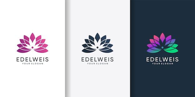 Edelweis-logo mit modernem farbverlaufsblumenkonzept premium-vektor