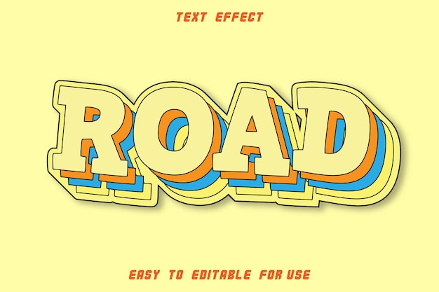 Editable text effect road ro