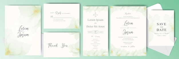 Editierbare hochzeitseinladungskarte bündel mit grüner blume
