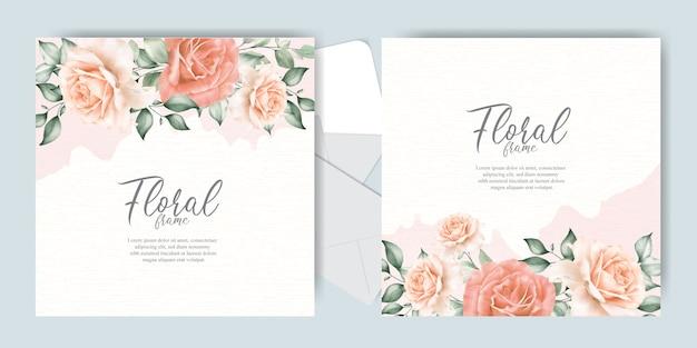 Editierbare hochzeitseinladungskarten mit eleganter blume und blättern