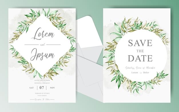 Editierbare hochzeitseinladungskarten setzen schablone mit kranzlaub und grünaquarell