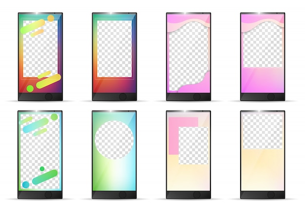 Editierbare instagram geschichten vorlage smartphone-set